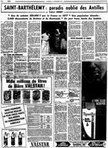 « Saint-Barthélemy : paradis oublié des Antilles » par Frédéric MÉGRET dans Le Figaro, Paris, 12 novembre 1965.