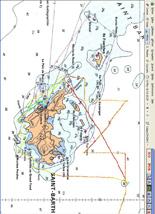 Le tracé du figaro 33 « MemoireStBarth.com » dans la nuit du jeudi 13 au vendredi 14 mai autour de l'île de Saint-Barthélemy
