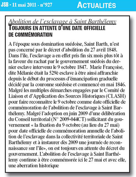 Saint barth lemy toujours en attente d une date officielle de comm moration - Le journal de saint barth ...